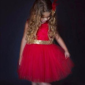 ❤️New! Red Lace Tulle Gold Sequin Bow Tutu Dress